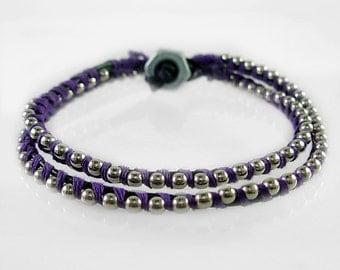 Purple lash, Leather & Ball Chain Wrapped Bracelet, Friendship Bracelet, Stackable