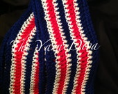 Crochet Scarf in Ole Miss colors or any college color