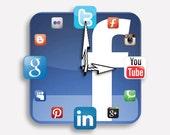 Facebook Icon Wall Clock Fans