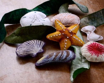 Summer Ocean Toys. Felt Seashell Nature Montessori Toys from Aly Parrott on Etsy. Made to order.