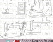 Sewing Machine Vintage and Modern Digital Clip Art Retro stamps