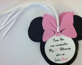 Minnie Mouse Thank you tags, minnie mouse gift tags, minnie mouse party