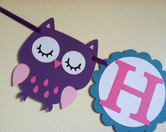 Owl Happy Birthday Banner - owl banner, owl party, owl decorations, custom owl, owl birthday, owl theme, girl birthday, boy birthday