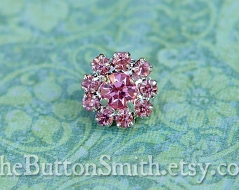 Rhinestone Buttons -Cleopatra- (11mm) RS-001 in Pink- 20 piece set