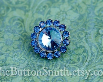 Rhinestone Buttons -Juliet- (20mm) RS-008 in Blue - 5 piece set S