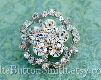 "Rhinestone Buttons ""Hannah"" (30mm) RS-024 - 20 piece set"
