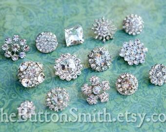 Rhinestone Buttons Mix - Petite Collection - 102- 15 piece set