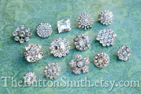 Rhinestone Buttons Mix - Petite Collection - 102- 15 piece set