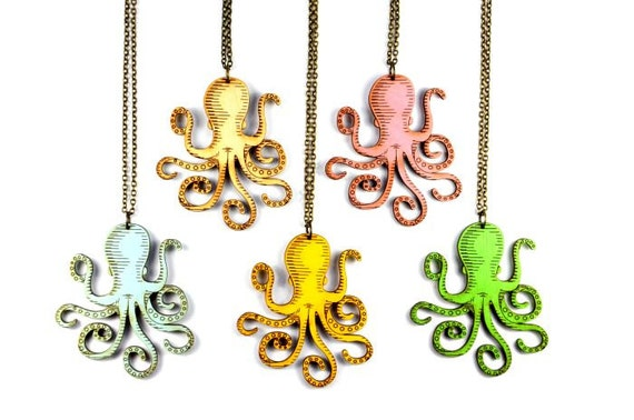 Octopus Necklace - Handmade - Laser Cut