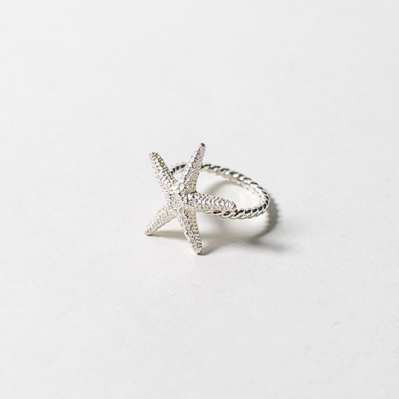 starfish ring sterling silver by ladyfayejewelry on etsy