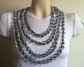 Oya Scarf- infinity scarf,' Crochet Lace Necklace, Crochet Black And White Necklace, Lace scarf,USA Seller