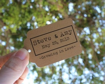 Custom Kraft Brown Die Cut Tag Labels for Gifts, Prices or Wedding Favors- Set of 125 - Large