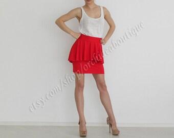 High-waist peplum mini red skirt