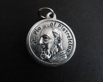 Italian Made Silver Saint Padre Pio Catholic Medal with Prayer on Back
