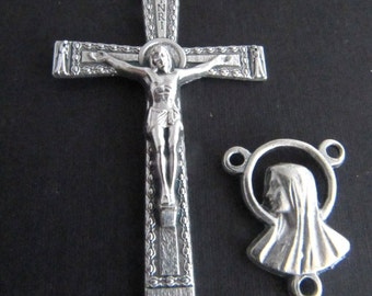 Italian Made Silver Large Rosary Crucifix with Matching Miraculous Medal with Mary/Jesus Reversible Rosary Center