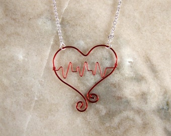 Red Heartbeat Wire Necklace