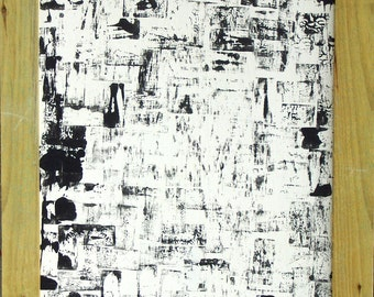 Abstract Black Block Painting, Framed. or best offer!
