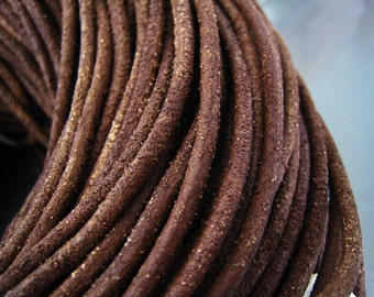 2 Yards of 3mm Distressed Brown Genuine Round Leather Cord