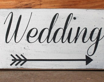 Distressed Wedding and Arrow Sign
