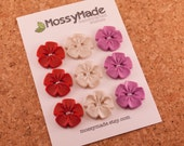 Buttons Vintage Flower Style - Be Mine (sparkle red, pearl & pearly magenta)