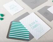 Emerald Green & Grey Wedding Invitations. Modern Wedding Stationery. Striped Wedding Invites in Emerald + Grey. Affordable Wedding Invites.