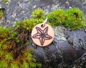 """SALE Sea Star Starfish Wooden Pyrography Charm 3/4"""" (2 of 2)"""