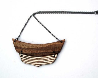 Natural Wood Necklace Geometric Necklace Eco Friendly Necklace Minimal  Tribal Necklace Made to Order