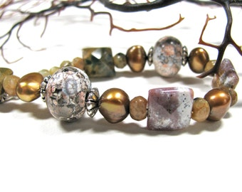 Earthy bracelet, Lavender and bronze bracelet, Crab Fire Agate with Ocean Jasper,  FWP,  handmade, beaded bracelet,  gemstones 203