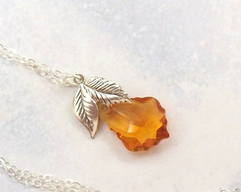 Yellow Topaz Necklace, Silver Leaf Necklace, Amber Necklace, sterling silver, spring fashion, spring fashion, swarovski crystal