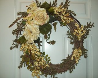 Large Grapevine Wreath with Yellow Flowers Berries and Feathers