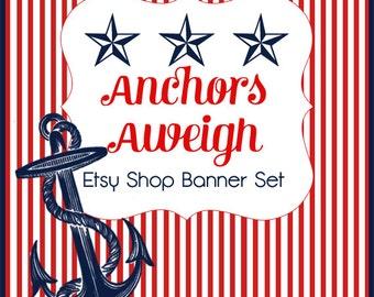 Etsy Shop Banner Set w/ New Size Cover Photo Spiffy Nautical -  6 Piece Set - Pre-made Retro Design- Red White Blue