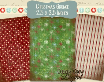 Christmas Grunge Digital Collage Sheet - ACEO ATC 2.5 x 3.5 -  INSTANT Printable Download