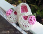Baby Booties, Crochet, Mary Jane in Cream and Pink with  Roses, sizes 0-3 months, 3-6 months, 6-9 months, 9-12 months