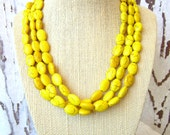 Triple Strand Yellow Necklace. Yellow Howlite Adjustable Statement Necklace. Multi Strand Yellow Jewelry. Beadwork Necklace - JensBeadBox