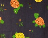 Vintage VIP Screen Print Calico Turtle Fabric
