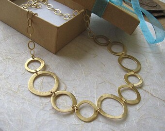 Gold circle necklace , Asymmetric chain link necklace , Handmade by Adi Yesod