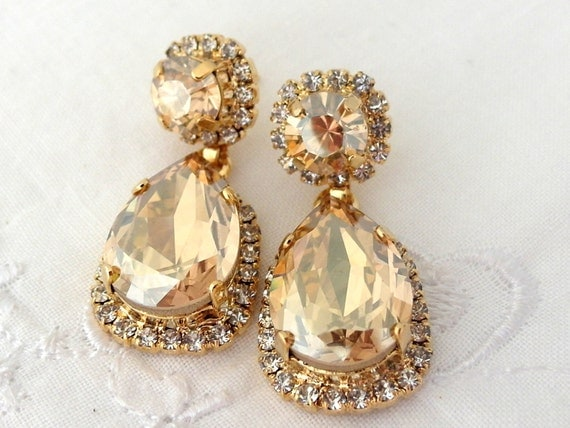 Champagne earringschandelier earringschampagne bridal for Jewelry for champagne wedding dress