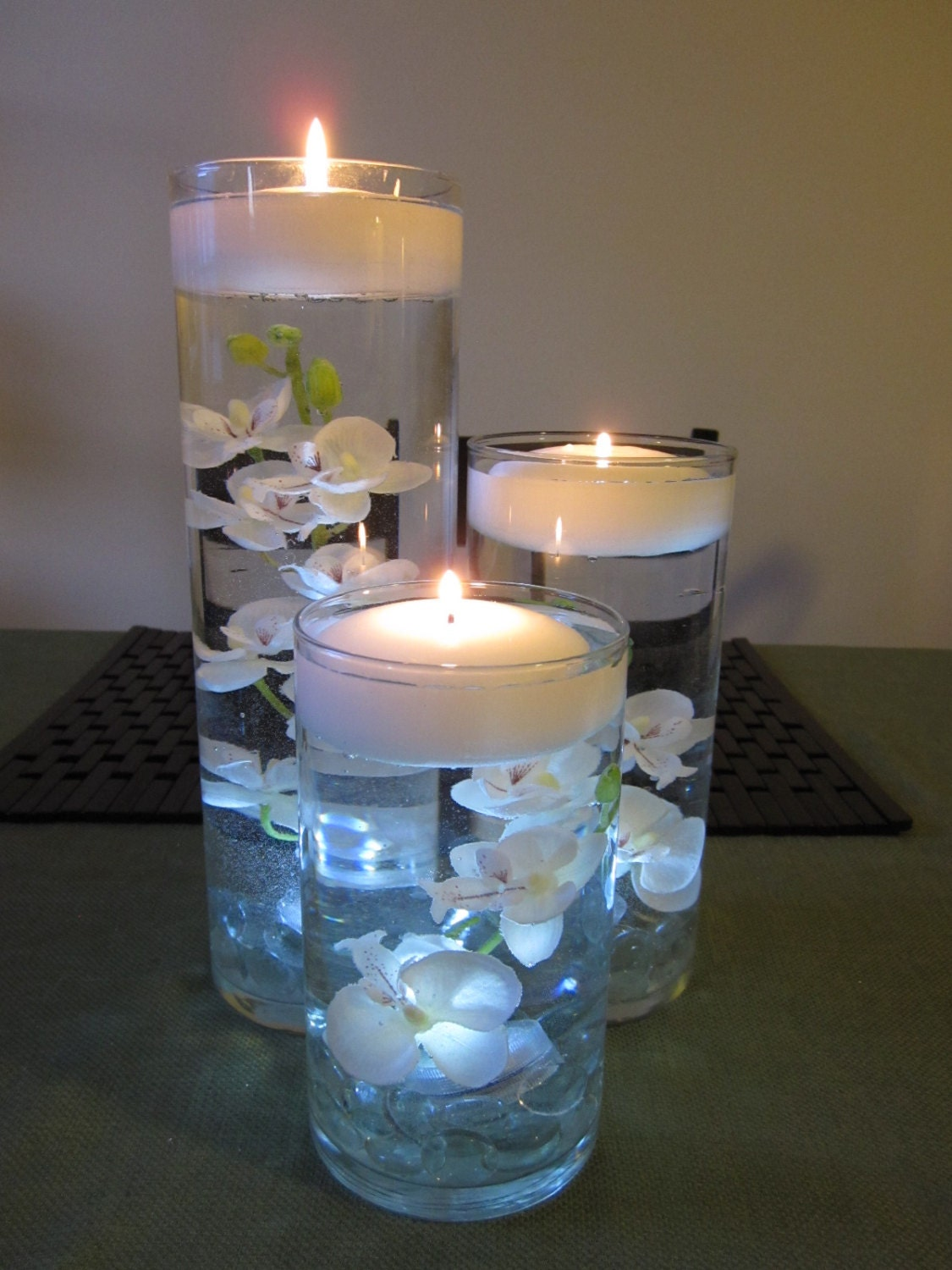 White Orchid Floating Candle Wedding Centerpiece Decor