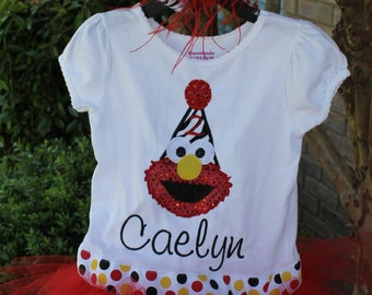 Ultimate Elmo Inspired  Shirt with ATTACHED Tutu and Matching Bow with Feathers