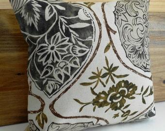 SALE Schumacher Katsugi Decorative pillow cover, brown floral pillow cover
