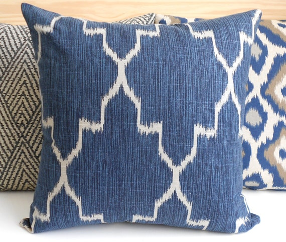 Modern Navy Pillows : Double sided Modern navy moroccan ikat by pillowflightpdx on Etsy