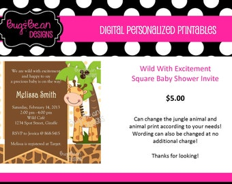 Wild With Excitement - Square Baby Shower Invitation - Personalize, You Print
