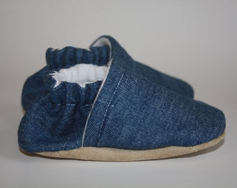 Denim baby shoes Blue jean baby shoes blue baby shoe baby slippers baby booties soft sole baby shoes 0-5T months