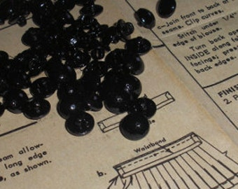 Item 009 - Buttons - 3/8 inch (9mm) plastic buttons Faceted Dome with Shank in Jet Black - 6 per package