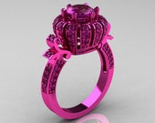 Classic Yeva 14K Pink Gold 1.0 CT Amethyst Crown Solitaire Bridal Ring Y303H-14KPGPAM