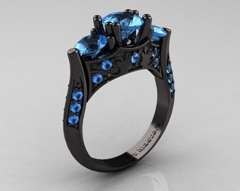 Nature Inspired 14K Black Gold Three Stone Blue Topaz Solitaire Wedding Ring Y230-14KBGBT
