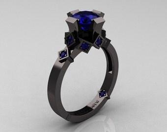 Modern Armenian Bridal 14K Black Gold 1.0 Blue Sapphire Solitaire Ring R240-14KBGBS