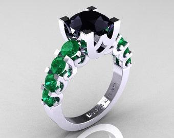 Modern Vintage 14K White Gold 3.0 Carat Black Diamond Emerald Designer Wedding Ring R142-14KWGEMBD
