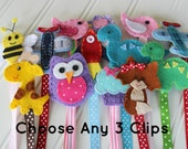 Choose Any 3 Felt Pacifier Clips - Owl, Elephant, Airplane, Dinosaur, Fox Binky Clip - Wee and Me