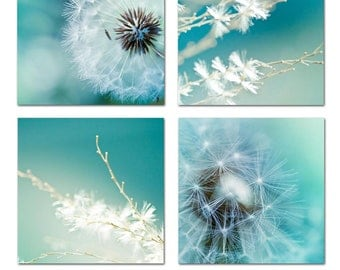 Dandelion photography print set large photos 12x12 fine art photography botanical nature photography art print  blue wall art summer teal